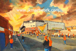 Hand Painted original of tannadice going to the match